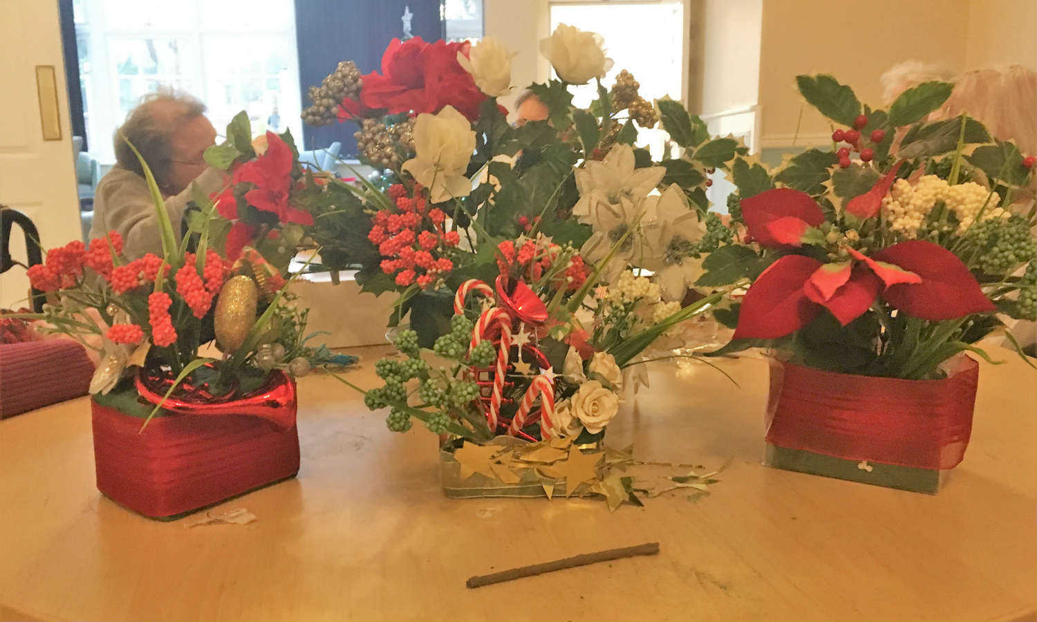 Merry Hall Ladies Create Christmas Flower Arrangements