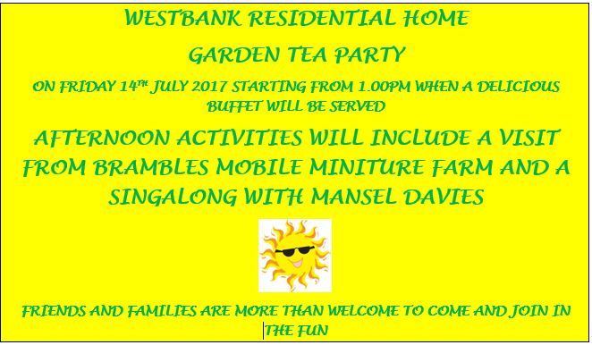 West Bank To Host Summer Garden Party